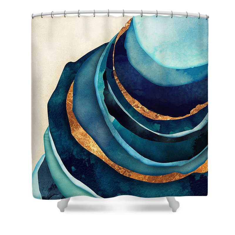 Blue Shower Curtain Featuring The Digital Art Abstract With Gold By Spacefrog Designs