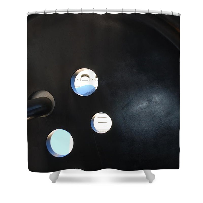 Button Shower Curtain featuring the photograph Abstract Button Holes by Rob Hans