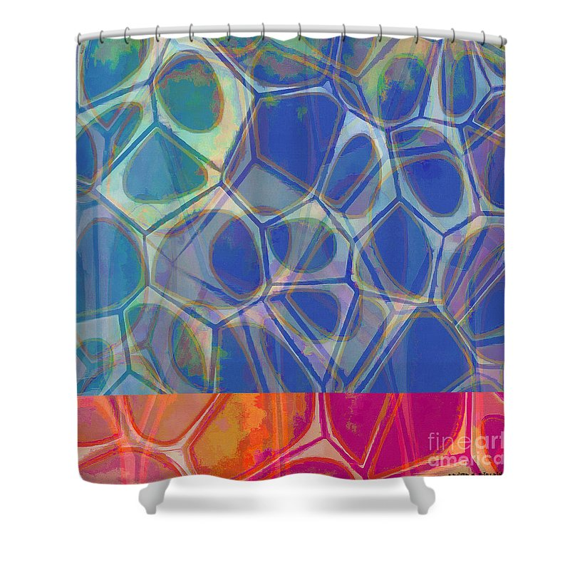 Square Shower Curtain featuring the painting Cells 7 - Abstract Painting by Edward Fielding