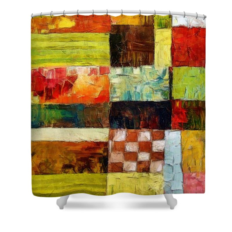 Patchwork Shower Curtain featuring the painting Abstract Color Study With Checkerboard And Stripes by Michelle Calkins