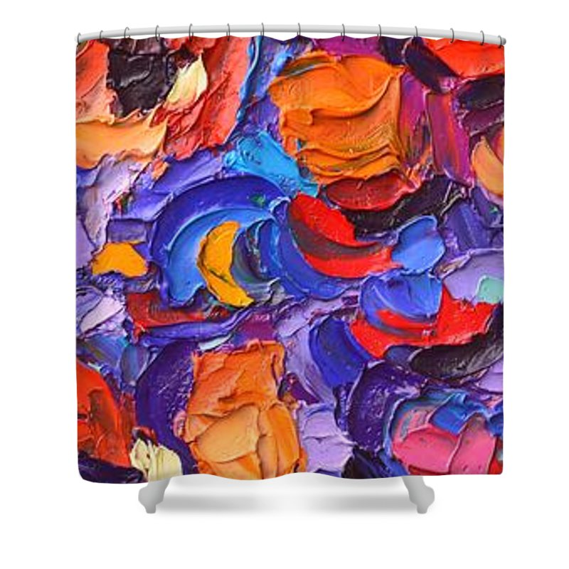 Abstract Shower Curtain featuring the painting Abstract Colorful Flowers Impasto Palette Knife Modern Impressionist Oil Painting Ana Maria Edulescu by Ana Maria Edulescu