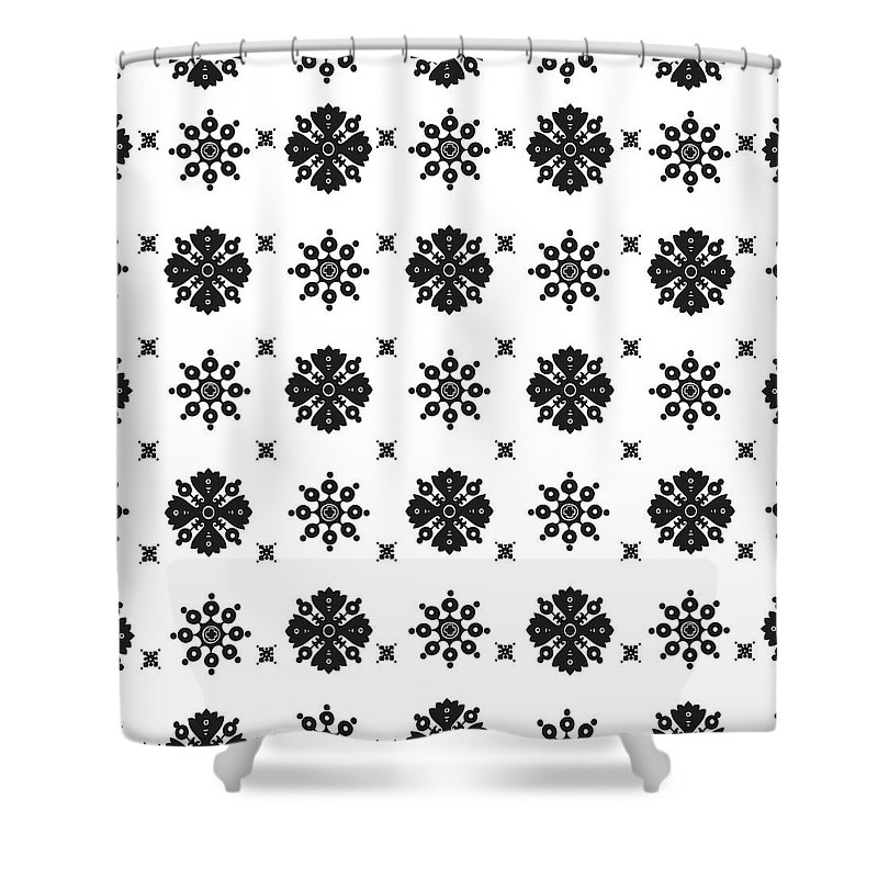 Pattern Shower Curtain featuring the digital art Abstract Ethnic Seamless Floral Pattern Design by Svetlana Corghencea