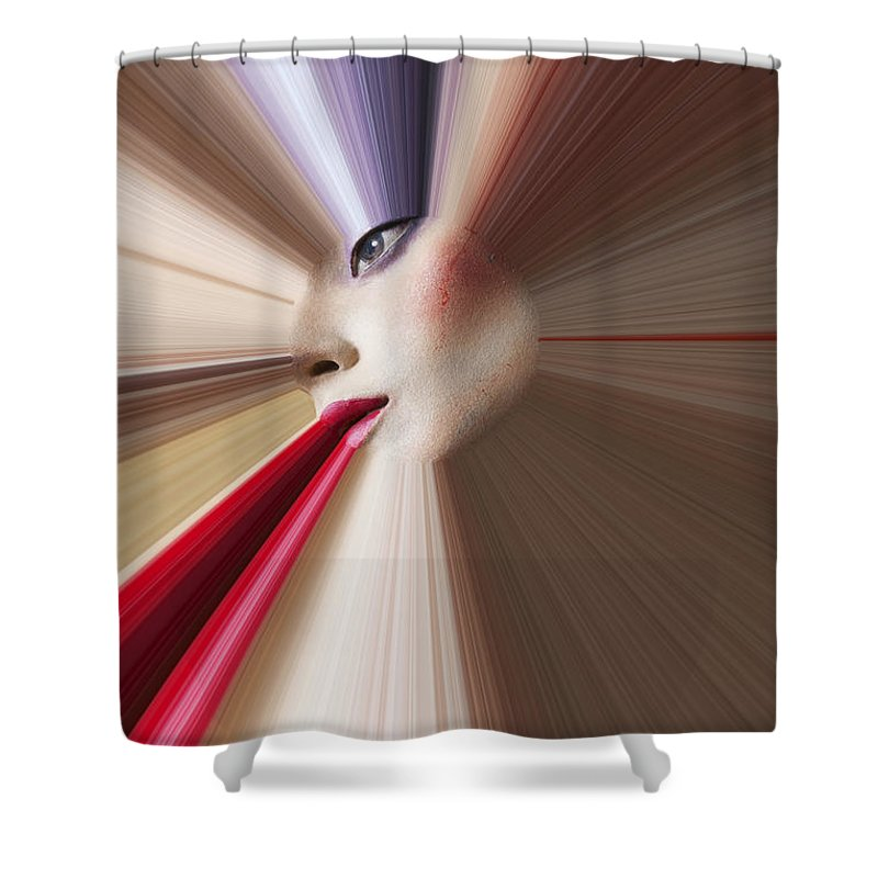 Abstract Face Eye Red Lips Shower Curtain featuring the photograph Abstract Face by Garry Gay