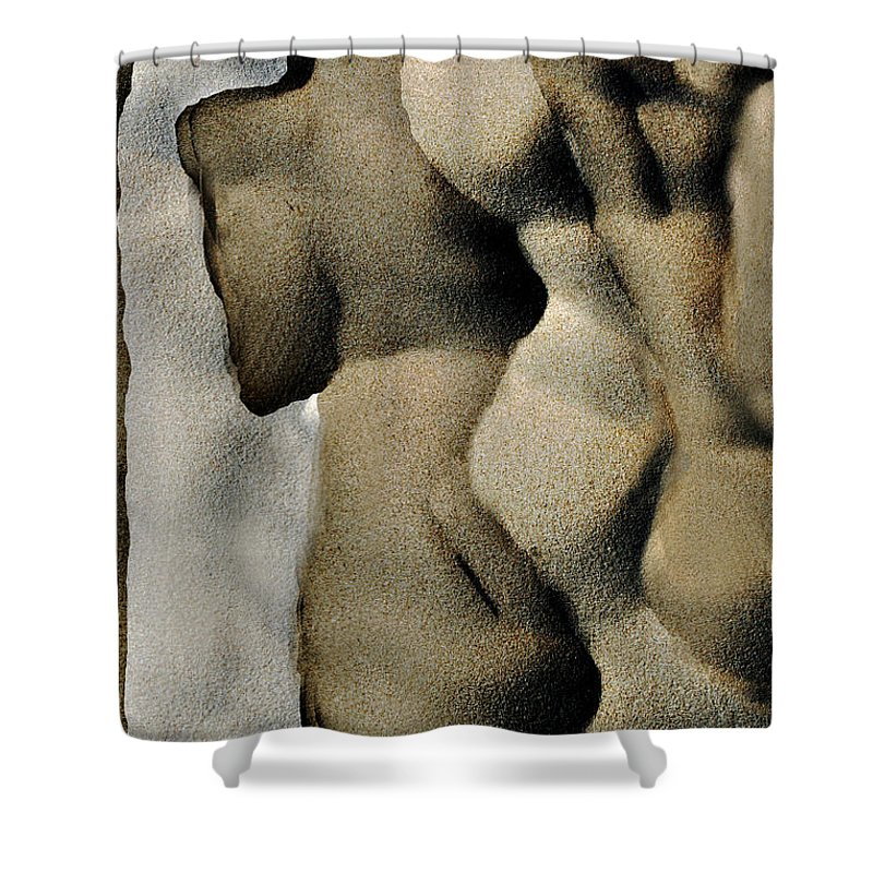 Abstract Shower Curtain featuring the photograph Abstract Female Figure In Grey by Hana Shalom