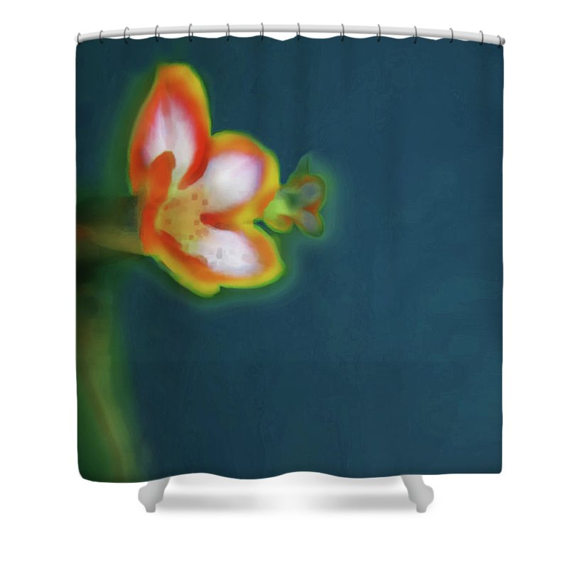 Posters Shower Curtain featuring the digital art Abstract Floral Art 69 by Miss Pet Sitter