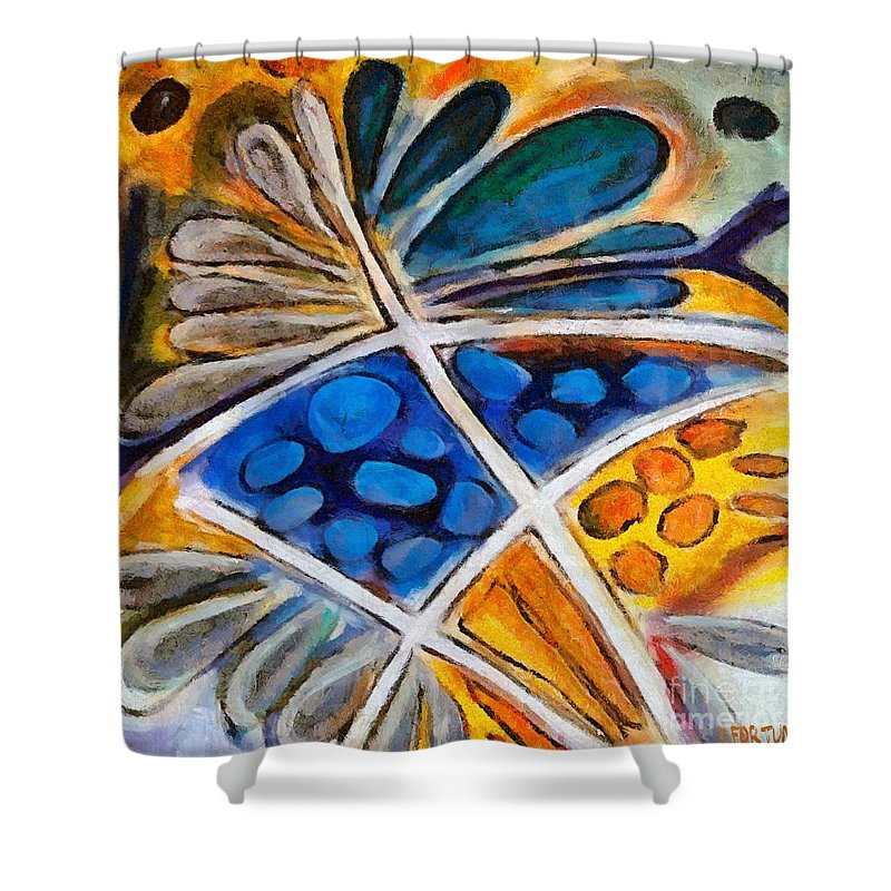 Flower Shower Curtain featuring the painting Abstract flower by Dragica Micki Fortuna