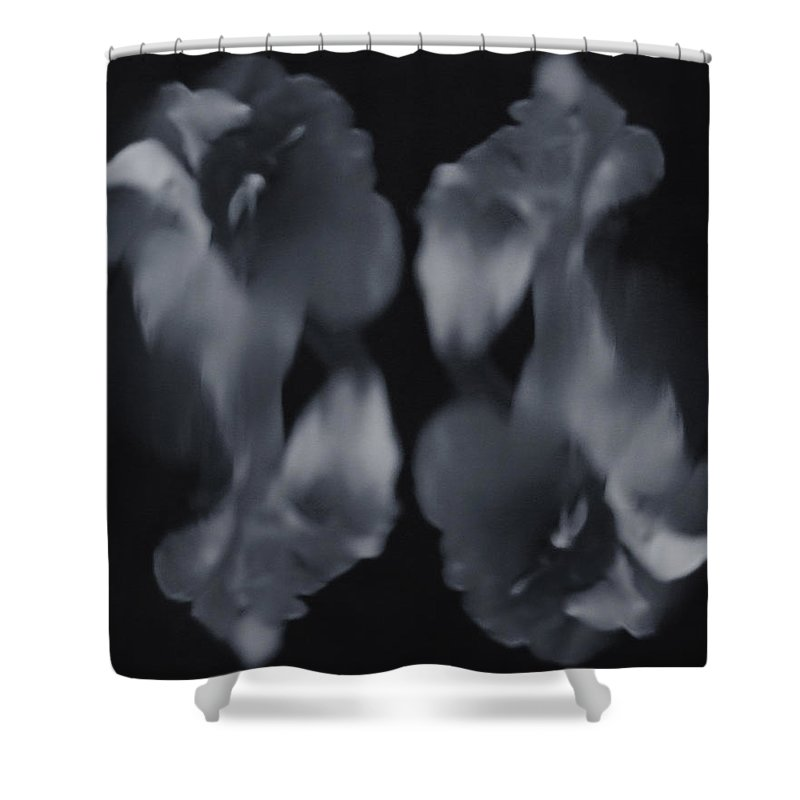 Black And White Shower Curtain featuring the photograph Abstract Flowers by Scott Wyatt