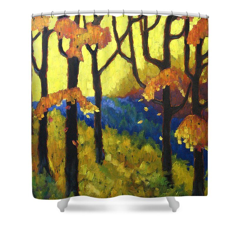 Art Shower Curtain featuring the painting Abstract Forest by Richard T Pranke