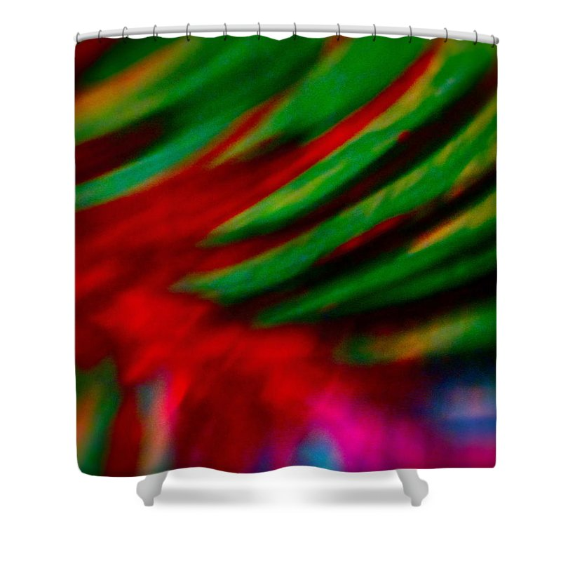 Photograph Of Painting Shower Curtain featuring the mixed media Abstract Frolic by Gwyn Newcombe