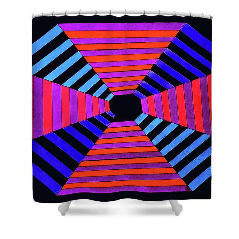 Abstract Drawing Shower Curtain featuring the drawing Abstract Fun Tunnel by Neal Alicakos