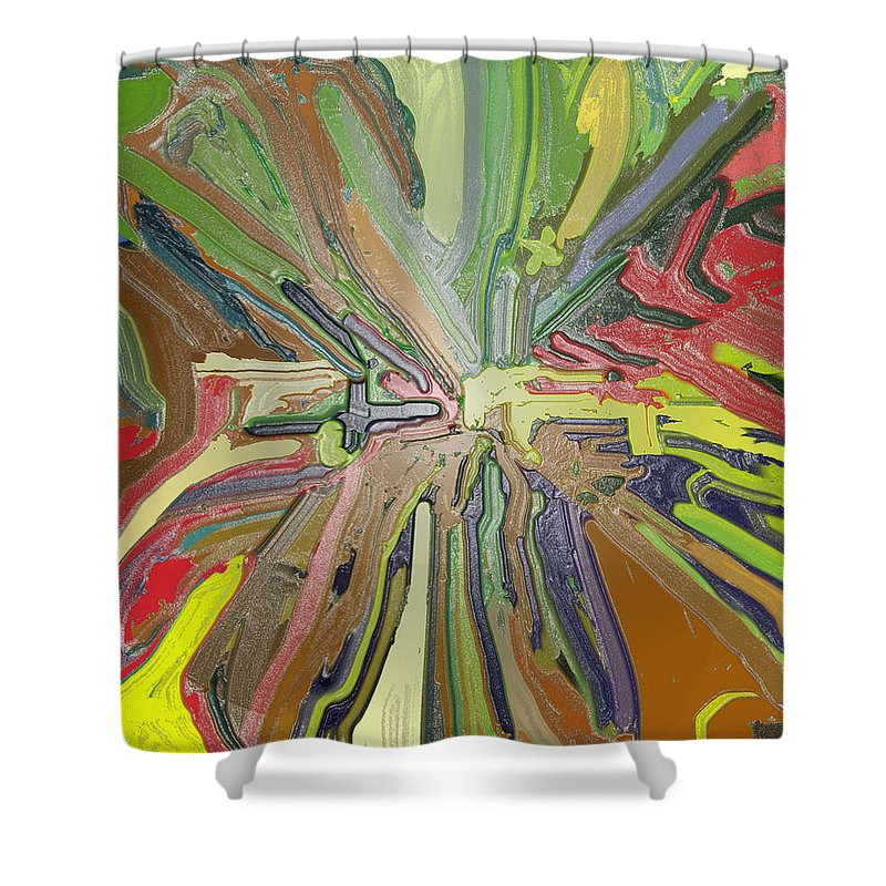 Absract Shower Curtain featuring the digital art Abstract Garden Wrapped by Ian MacDonald