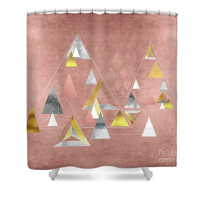 Triangles Shower Curtain Featuring The Painting Abstract Geometric Gold Silver Rose By