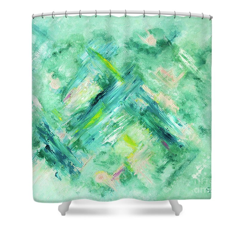 Abstract Green Blue Shower Curtain featuring the painting Abstract Green Blue by Cindy Lee Longhini