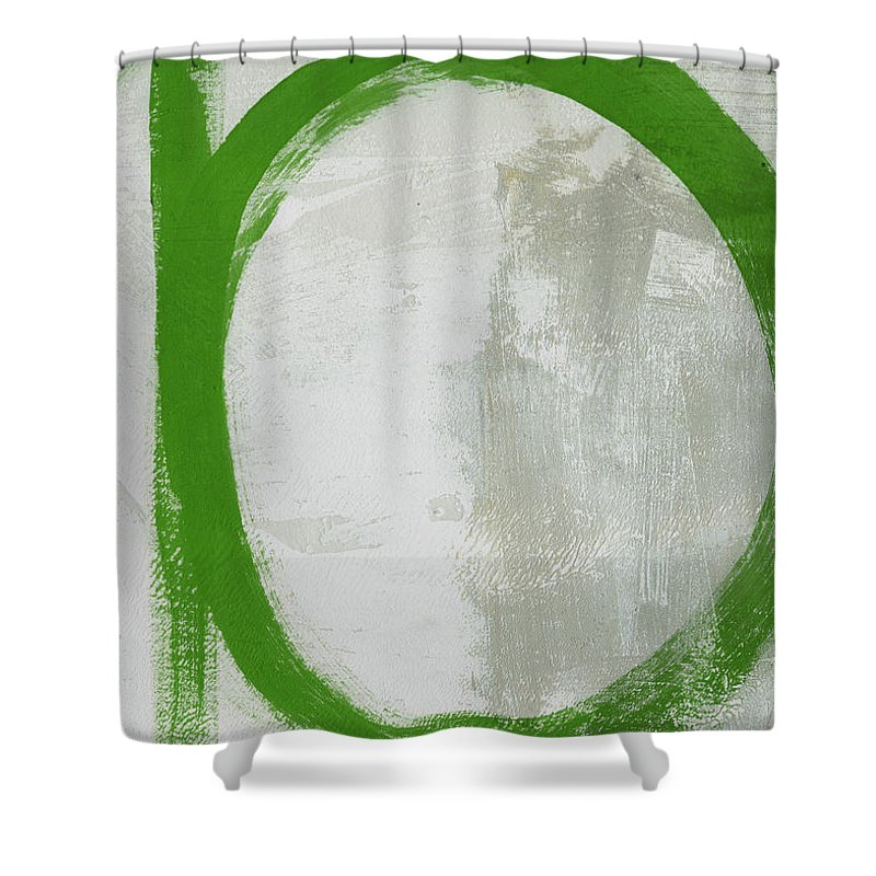 Abstract Shower Curtain featuring the painting Abstract Green Circle 2- Art By Linda Woods by Linda Woods