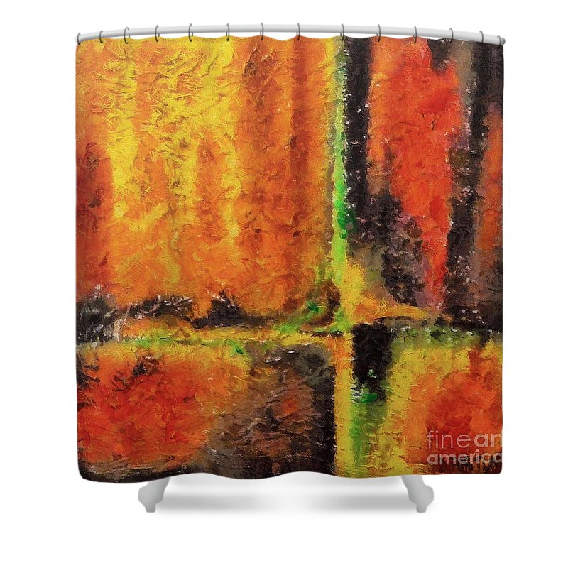 Abstract Shower Curtain featuring the mixed media abstract I by Dragica Micki Fortuna