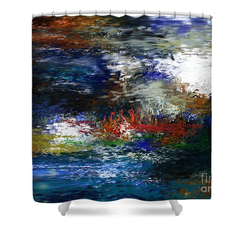 Abstract Shower Curtain featuring the digital art Abstract Impression 5-9-09 by David Lane