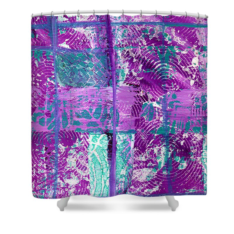 Abstract Shower Curtain featuring the painting Abstract In Purple And Teal by Wayne Potrafka