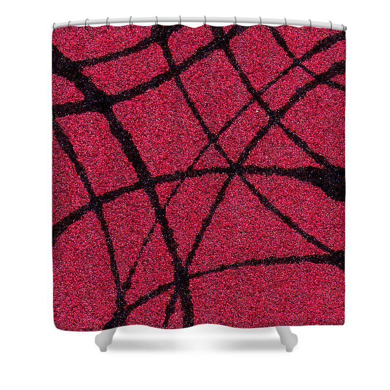 Abstract Shower Curtain featuring the painting Abstract In Red And Black by Wayne Potrafka