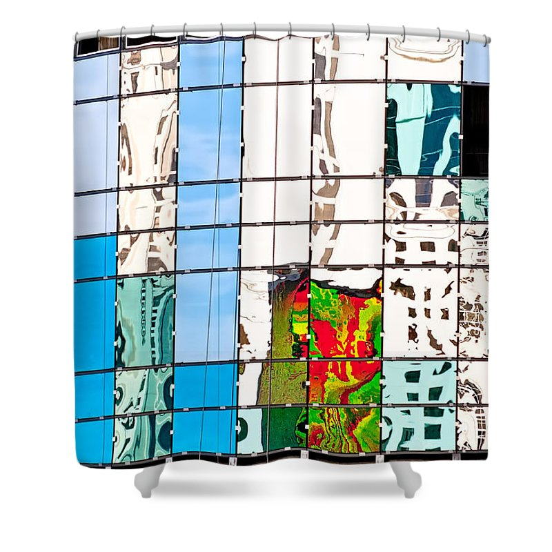 Building Shower Curtain featuring the photograph Abstract In The Windows by Christopher Holmes