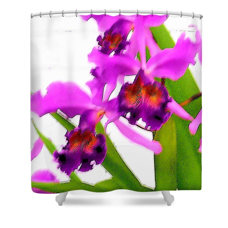 Flowers Shower Curtain featuring the digital art Abstract Iris by Anita Burgermeister