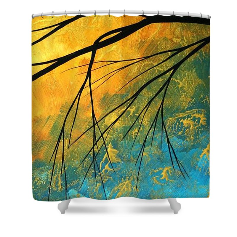 Abstract Shower Curtain featuring the painting Abstract Landscape Art Passing Beauty 2 Of 5 by Megan Duncanson