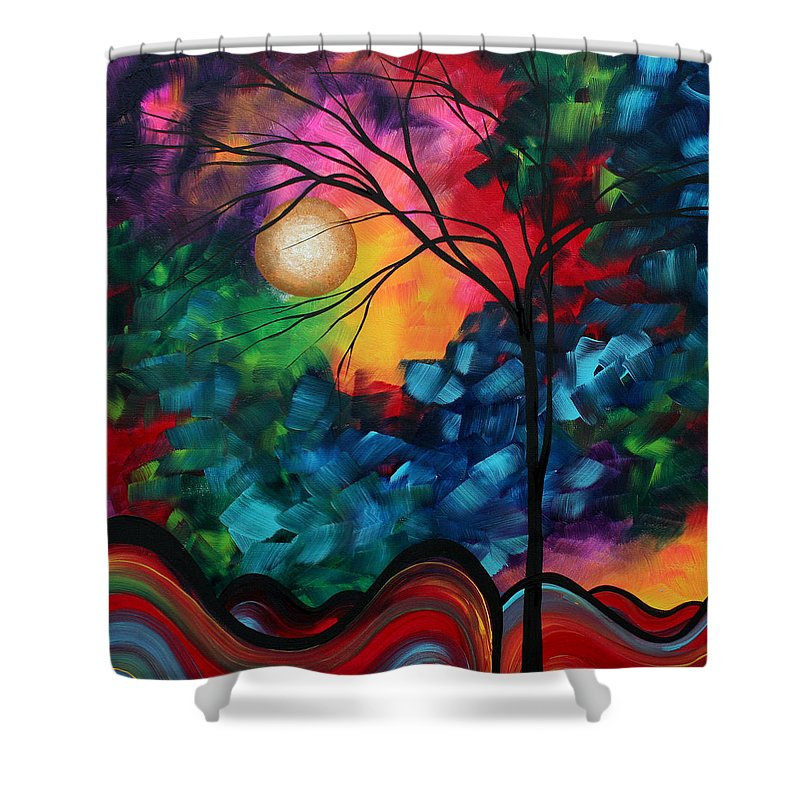 Abstract Shower Curtain featuring the painting Abstract Landscape Bold Colorful Painting by Megan Duncanson