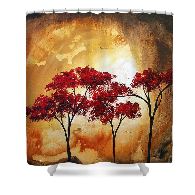 Abstract Shower Curtain featuring the painting Abstract Landscape Painting Empty Nest 2 By Madart by Megan Duncanson