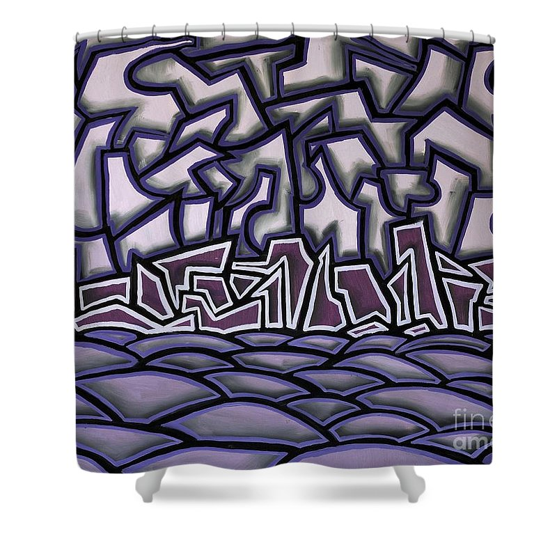Landscape Shower Curtain featuring the painting Abstract Landscape by Thomas Valentine