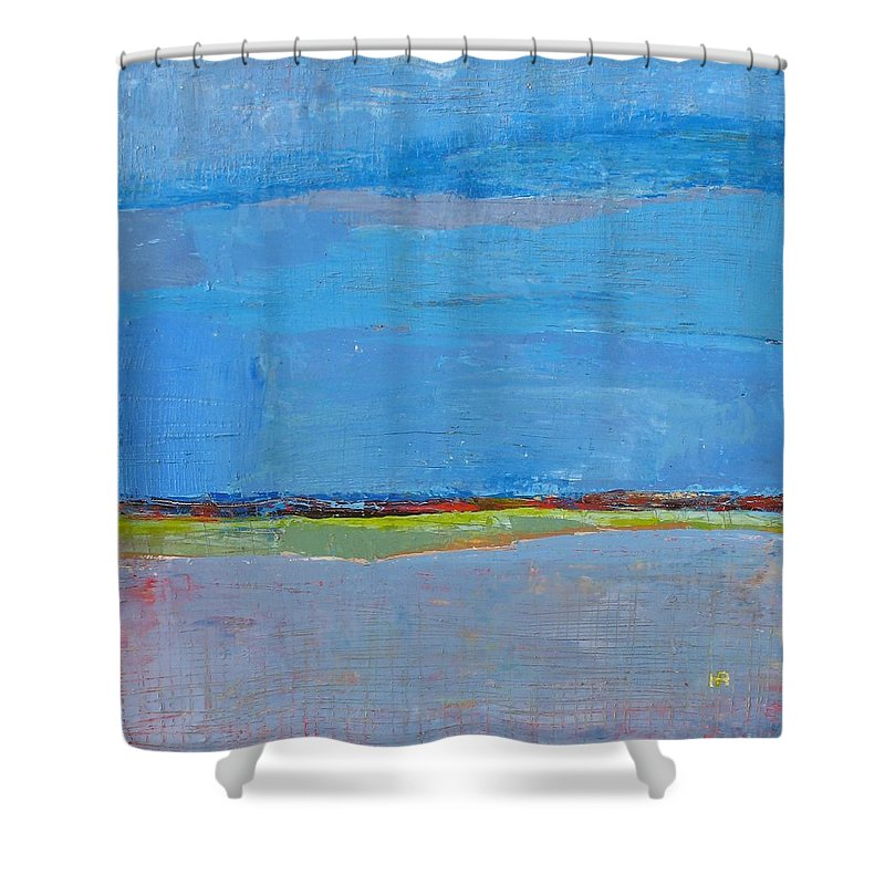 Shower Curtain featuring the painting Abstract Landscape1 by Habib Ayat
