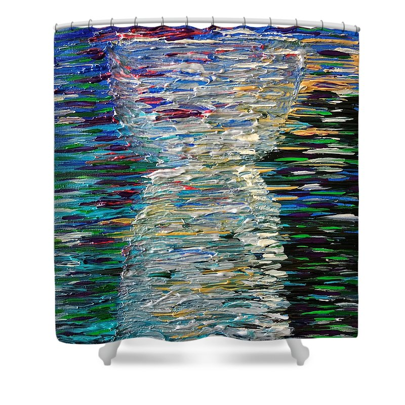 Abstract Shower Curtain featuring the painting Abstract Latte Stone by Michelle Pier