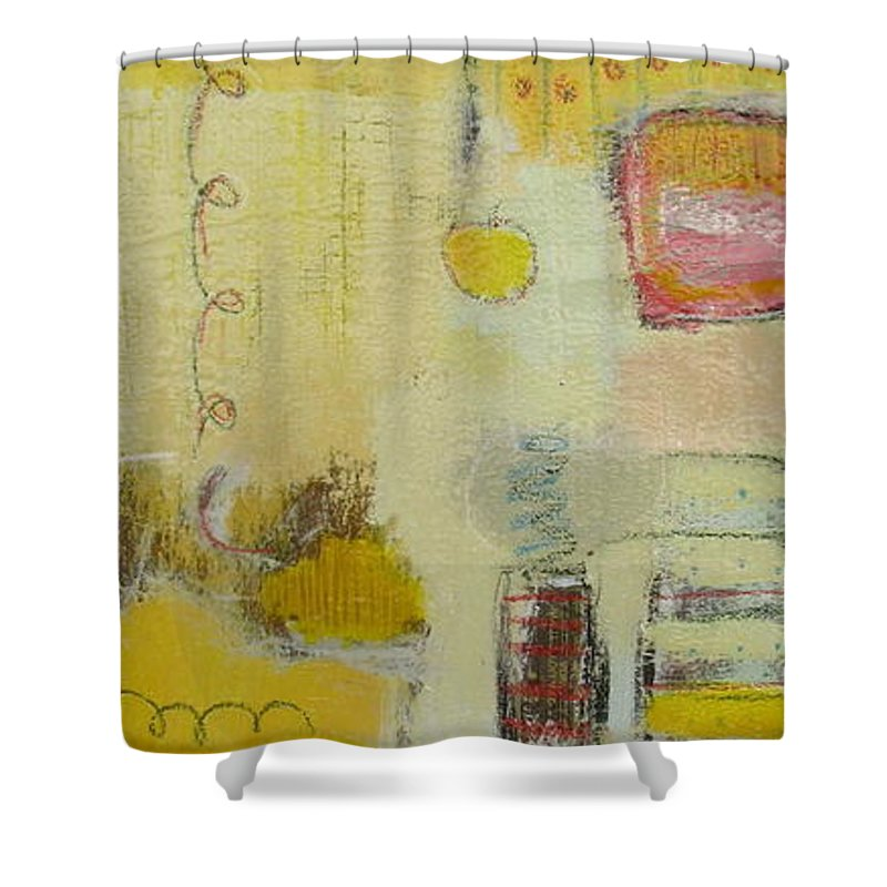 Abstract Shower Curtain featuring the painting Abstract Life 1 by Habib Ayat