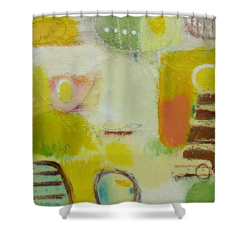 Shower Curtain featuring the painting Abstract Life 2 by Habib Ayat