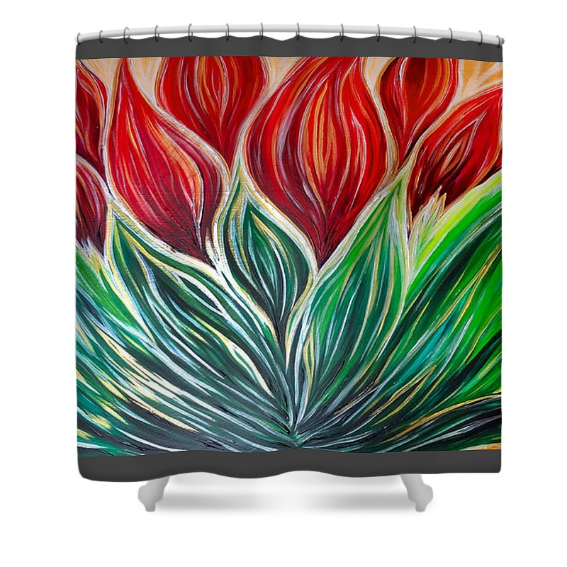 Abstract Shower Curtain featuring the painting Abstract Lotus by Michelle Pier