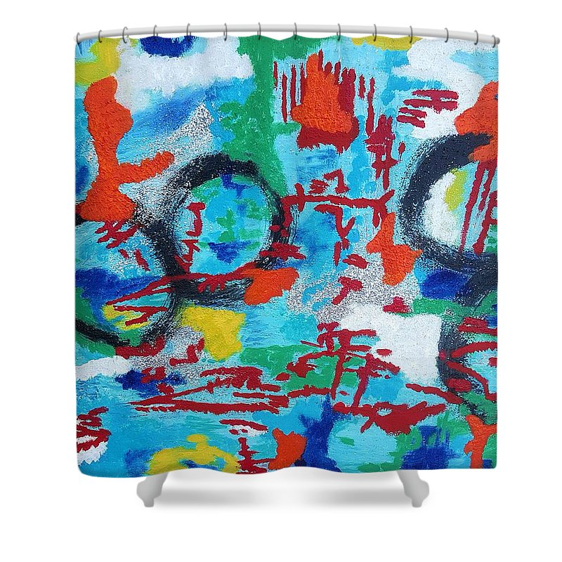 Abstract Art Shower Curtain featuring the painting Abstract Love by Monique Robinson