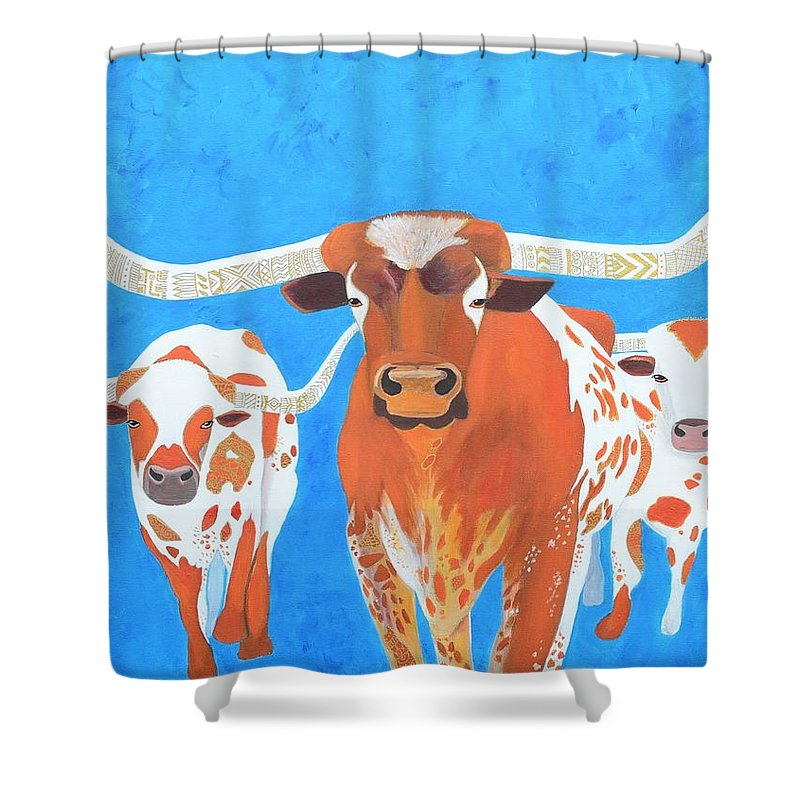Texas Shower Curtain featuring the painting Abstract Mehndi Texas Longhorns by Artistic Indian Nurse