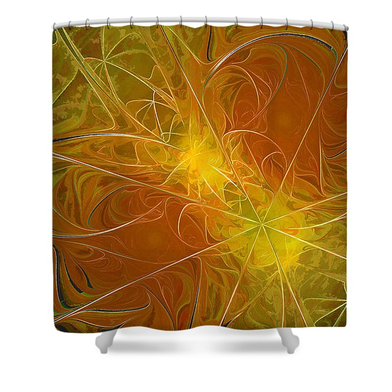 Digit Shower Curtain featuring the digital art Abstract Orange by Deborah Benoit