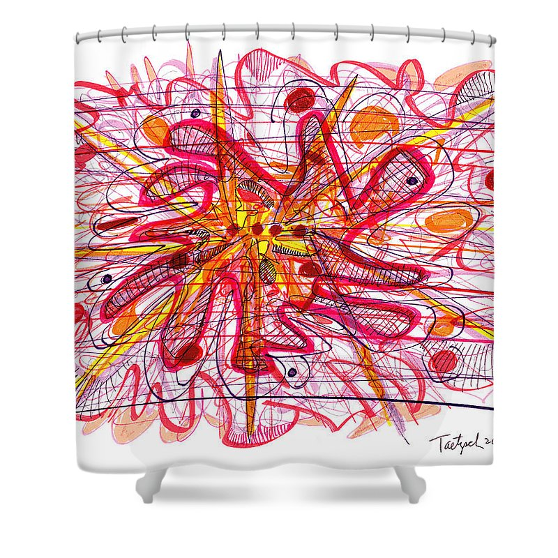 Abstract Art Shower Curtain featuring the drawing Abstract Pen Drawing Fifteen by Lynne Taetzsch