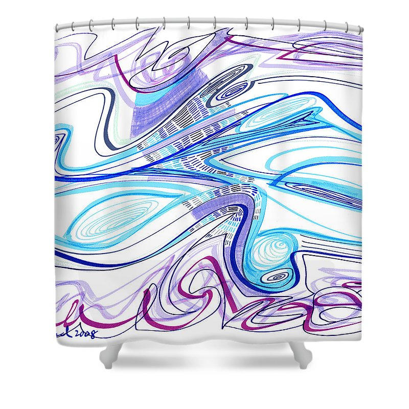 Abstract Shower Curtain featuring the drawing Abstract Pen Drawing Forty-two by Lynne Taetzsch