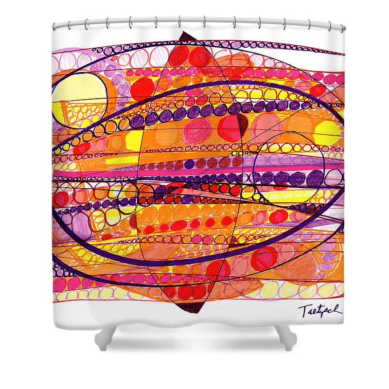 Abstract Art Shower Curtain featuring the drawing Abstract Pen Drawing Fourteen by Lynne Taetzsch