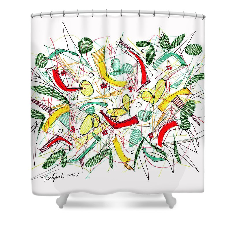 Abstract Shower Curtain featuring the drawing Abstract Pen Drawing Twenty-two by Lynne Taetzsch
