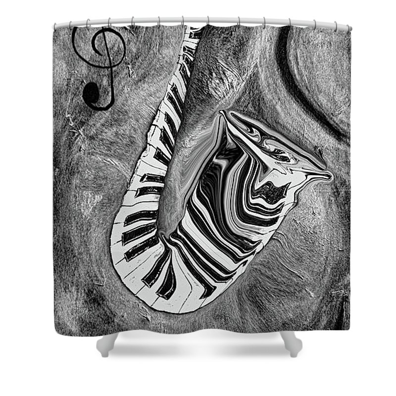 Abstract Piano Key Reflections In The Saxophone 1 - Music In Motion Shower Curtain featuring the mixed media Piano Keys In A Saxophone 1 - Music In Motion by Wayne Cantrell