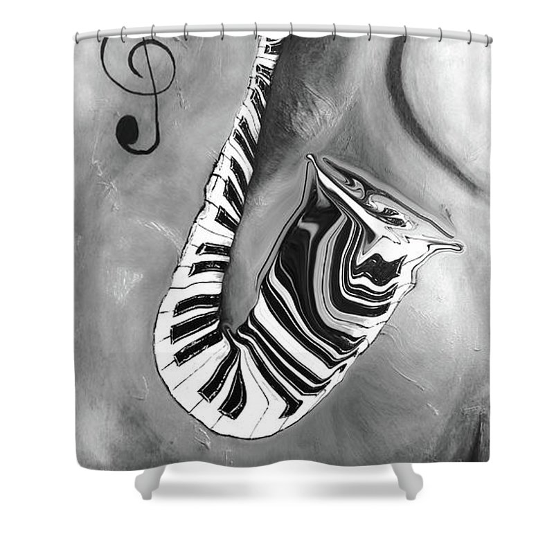 Abstract Piano Key Reflections In The Saxophone 4 - Music In Motion Shower Curtain featuring the mixed media Piano Keys In A Saxophone 4 - Music In Motion by Wayne Cantrell