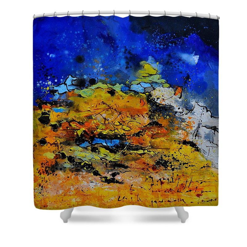 Abstract Shower Curtain featuring the painting Abstract by Pol Ledent