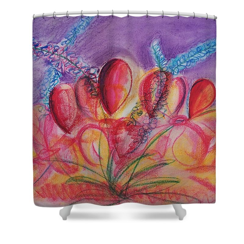 Abstract Shower Curtain featuring the drawing Abstract Red And Purple And Blue by Eric Schiabor
