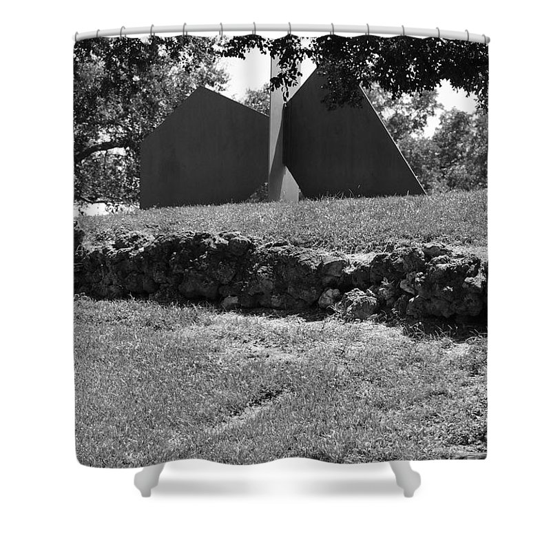 Black And White Shower Curtain featuring the photograph Abstract Sculpture by Rob Hans