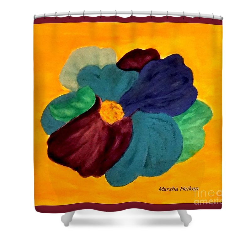 Painting Shower Curtain featuring the mixed media Abstract Watercolor And Pastel Flower by Marsha Heiken