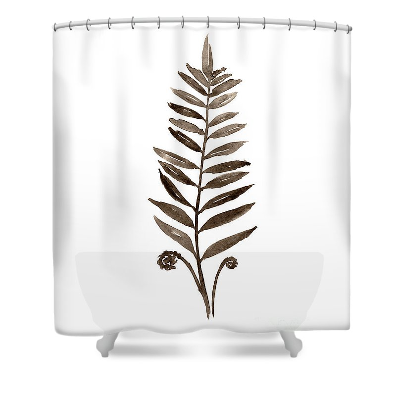 Fern Brown Leavabstract Watercolor Painting Botanical Illustration Minimalist Art Print Shower Curtain For Sale By Joanna Szmerdt