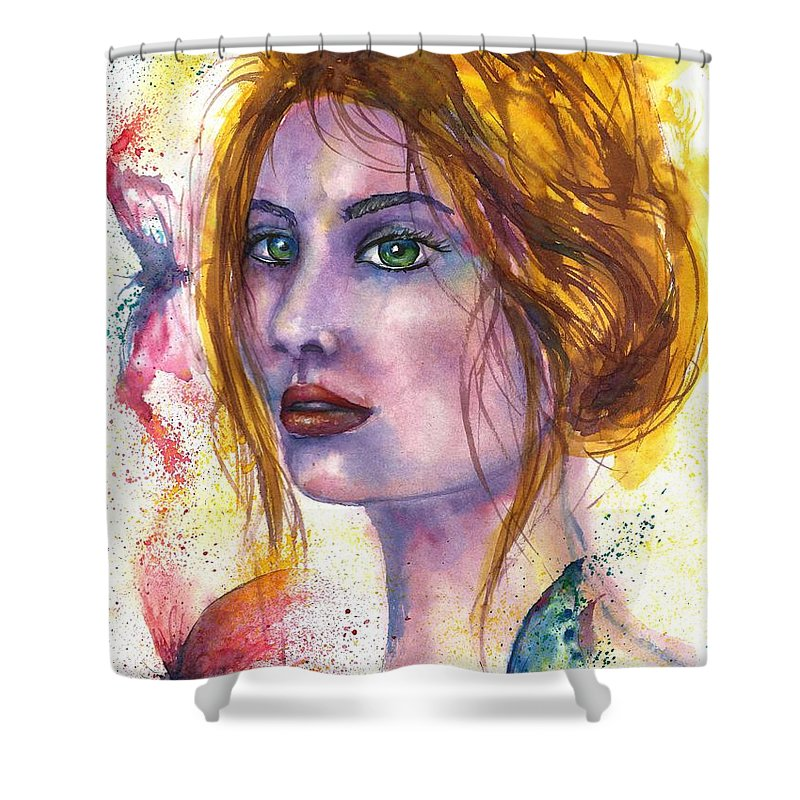 Women Face Shower Curtain featuring the painting Abstract women face by Natalja Picugina
