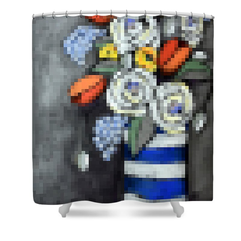 Pixels Shower Curtain featuring the digital art Abstracted Flowers - 3 by David Hinds