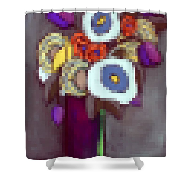 Pixels Shower Curtain featuring the digital art Abstracted Flowers - 4 by David Hinds